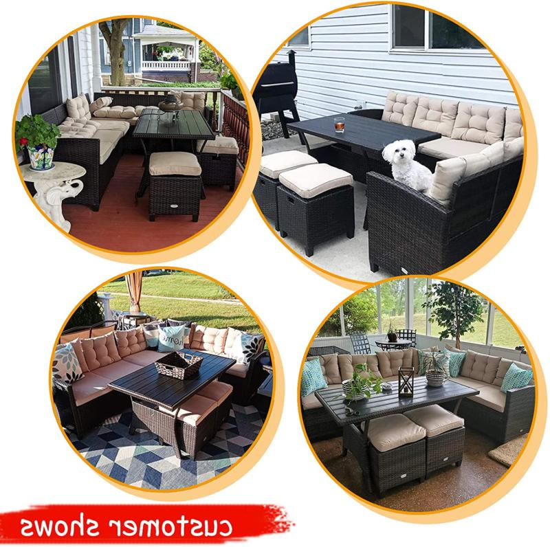Tangkula 5 Patio Furniture Set, Outdoor Set Cushioned Se