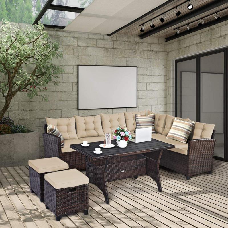 Tangkula 5 Furniture Set With Cushioned Se