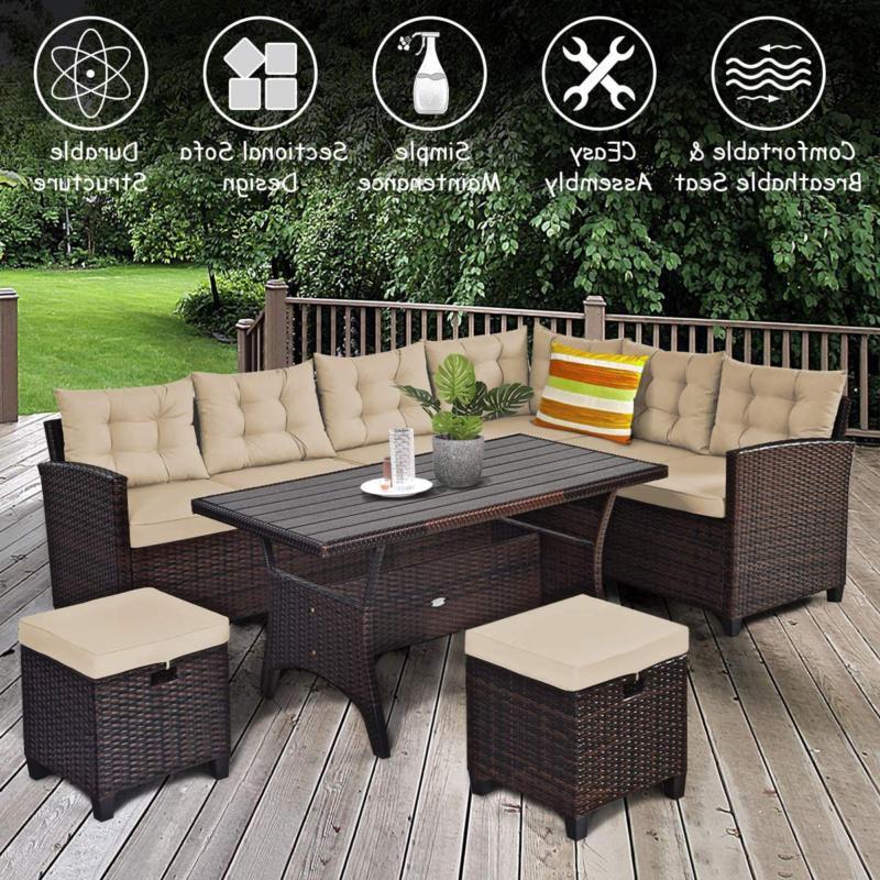 Tangkula Pcs Patio Furniture Set, Set With 6 Cushioned Se