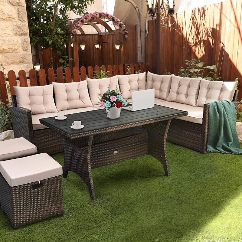 Tangkula 5 Pcs Furniture Set, Set With 6 Cushioned Se