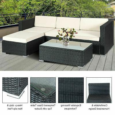5 PCS Patio Furniture Shelf Garden Sofa Cushion