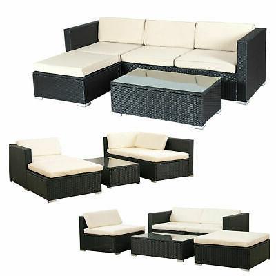 5 PCS Patio Furniture Set Wicker Table Shelf Garden Cushion