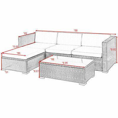 5 PCS Patio Furniture Set Shelf Garden Cushion Black