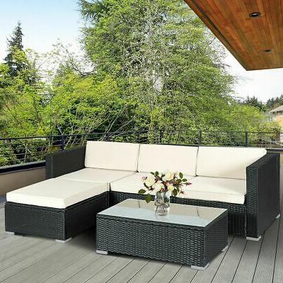 5 pcs patio furniture set rattan wicker
