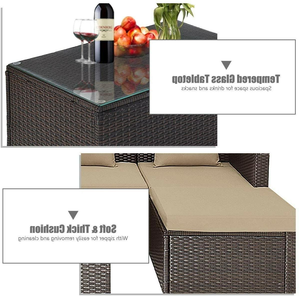 Tangkula Wicker Conversation Furniture Outdoor Rattan Sofas