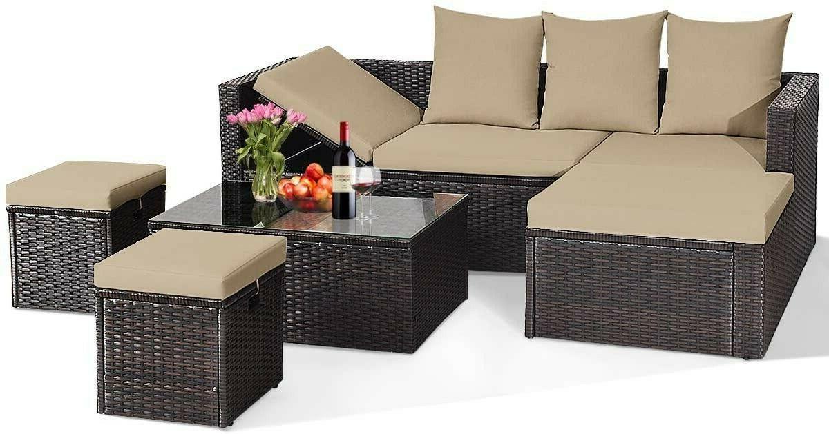 Tangkula 5-Piece Conversation Furniture Set, Rattan Sofas