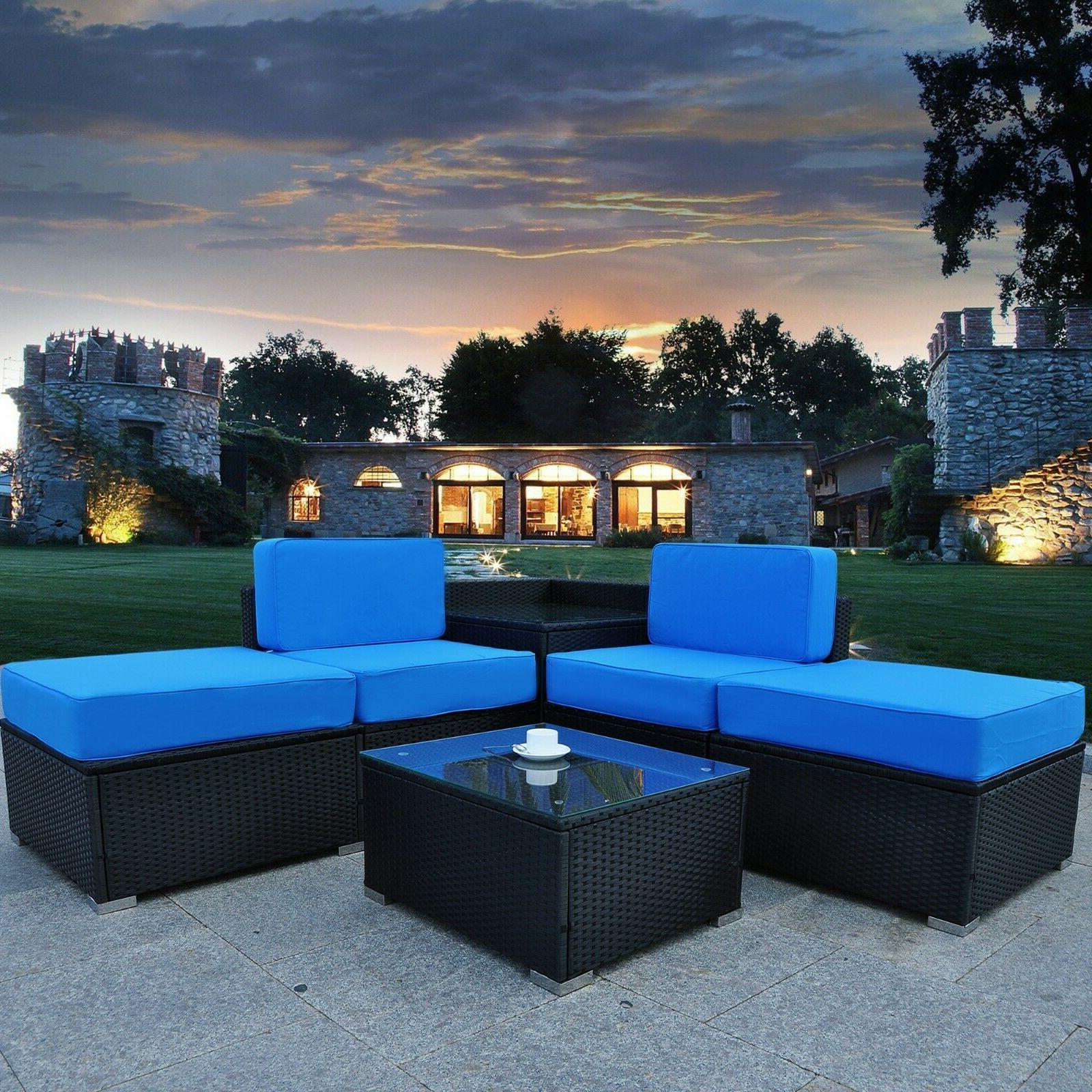 5 pieces patio outdoor wicker rattan sofa
