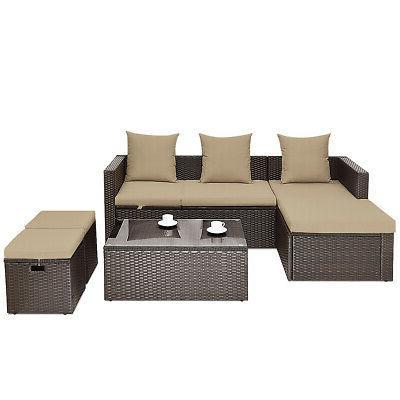 5 Pieces Patio Sofa Table Wicker Patio Furniture w/ Cushions