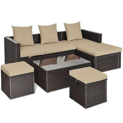5 pieces patio rattan sofa table set