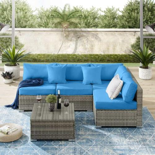 5 Patio Yard Furniture Outdoor Sectional Wicker Couch