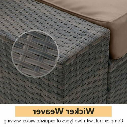 5 Pieces Furniture Outdoor Wicker Sofa Set Couch