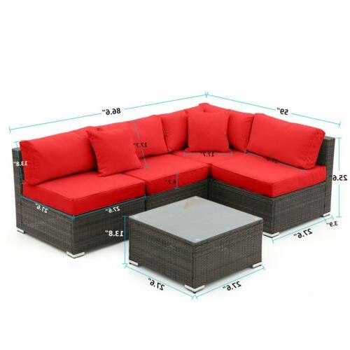 5 Furniture Sectional Wicker Sofa Couch