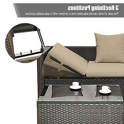 5PC Wicker Furniture Set Outdoor Sectional Lounge Cushioned