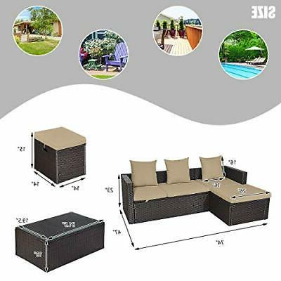 5PC Wicker Patio Set Sectional Lounge Loveseat Cushioned
