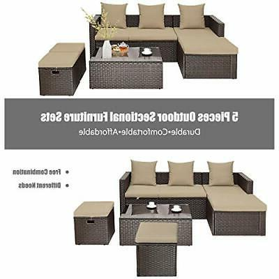 5PC Wicker Set Lounge Loveseat Cushioned
