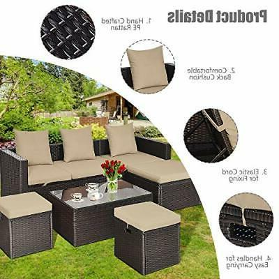 5PC Wicker Set Outdoor Sectional Lounge Loveseat Cushioned