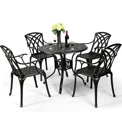 5PCS Cast Aluminum Dining Set Hole Garden Deck Furniture