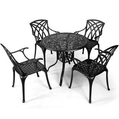 5PCS Cast Aluminum Dining Set Hole