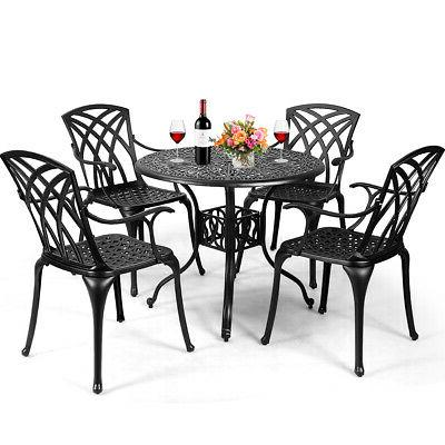 5pcs cast aluminum patio dining set durable