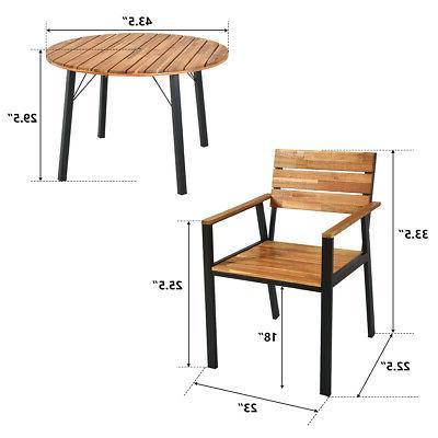 5PCS Patio Outdoor Dining Furniture Set w/