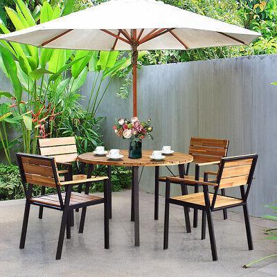 5PCS Patio Outdoor Dining Furniture w/ Umbrella