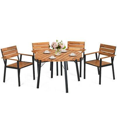 5PCS Patio Dining Outdoor w/ Hole