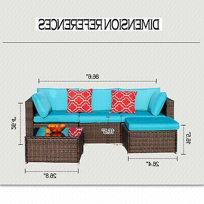 Polar Furniture Set Wicker Sectional