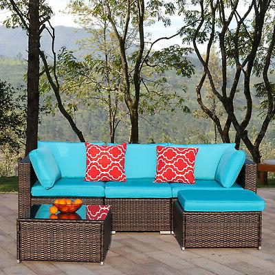 Polar 5pcs Patio Furniture Set Outdoor Wicker Sofa Set