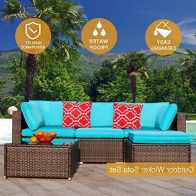 Polar Aurora 5pcs Furniture Wicker Sectional Sofa Set