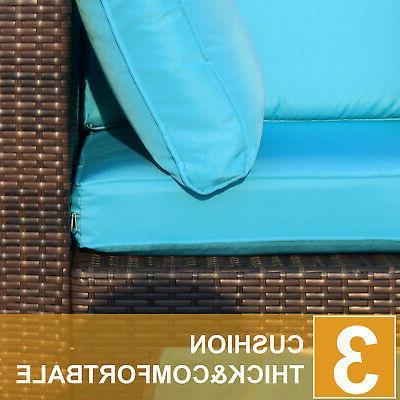 Polar Aurora 5pcs Furniture Outdoor Wicker Sectional Sofa