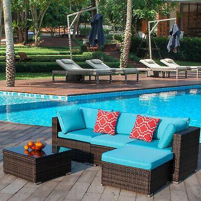 5pcs patio furniture set outdoor rattan wicker