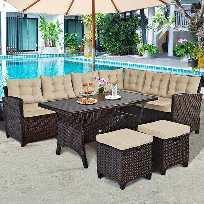 5pcs patio rattan dining set cushioned sofa