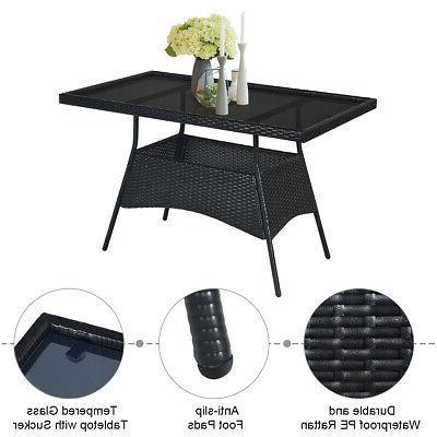 5PCS Patio Rattan Outdoor Furniture