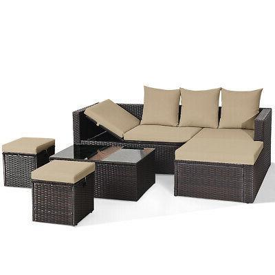 5 Pieces Rattan Sofa Set Cushions