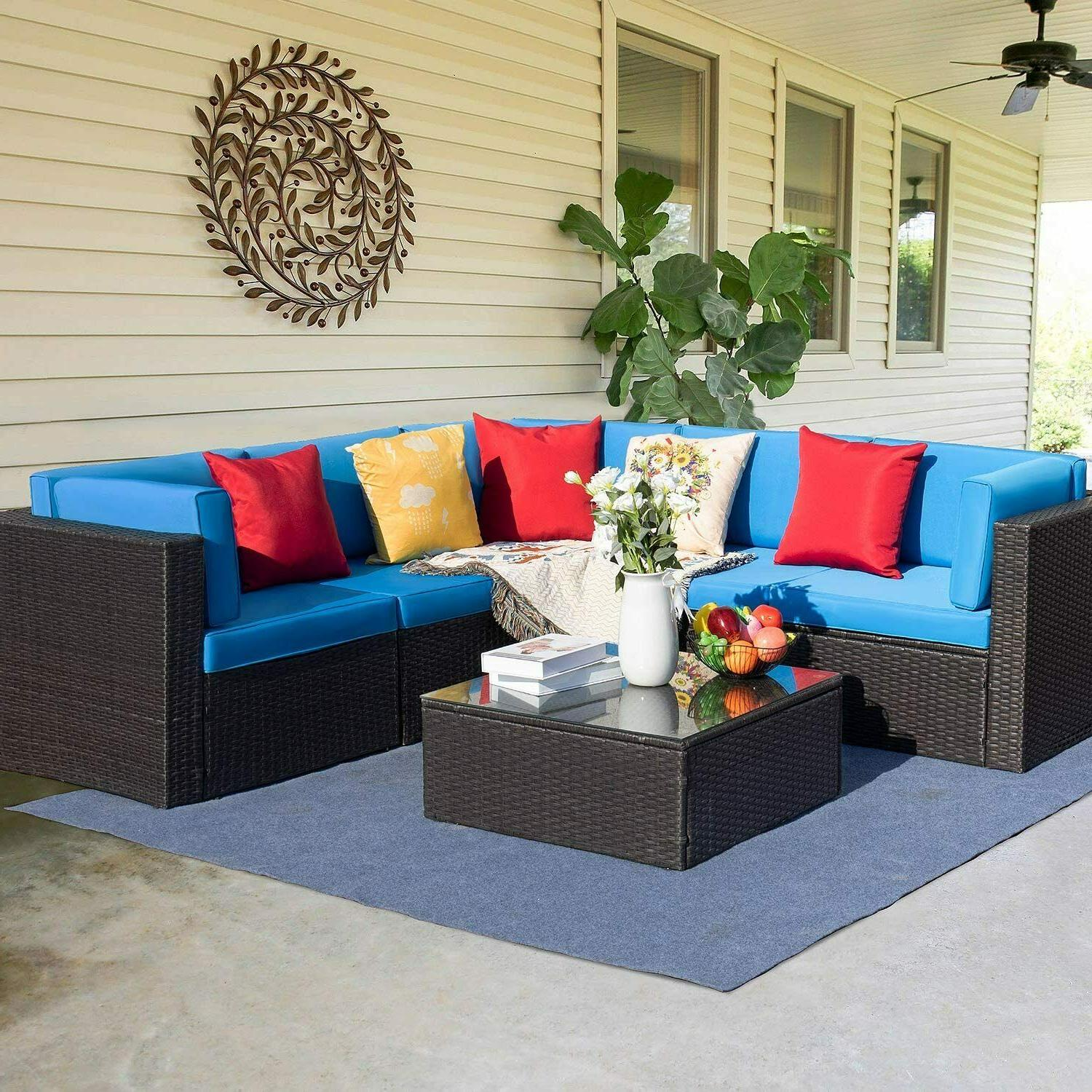 6 pieces patio furniture sectional set outdoor
