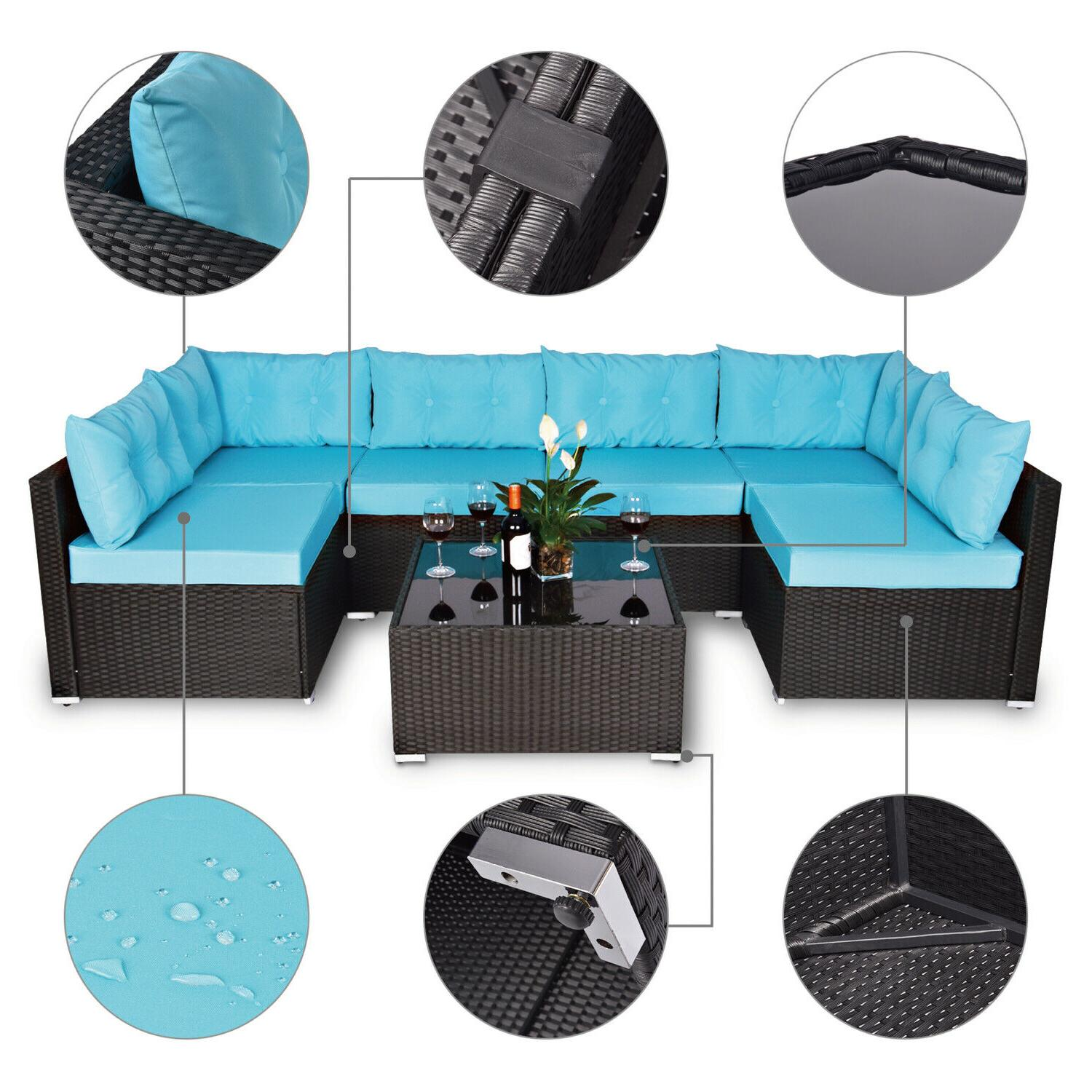 7 Patio Garden Set Rattan with Table Blue