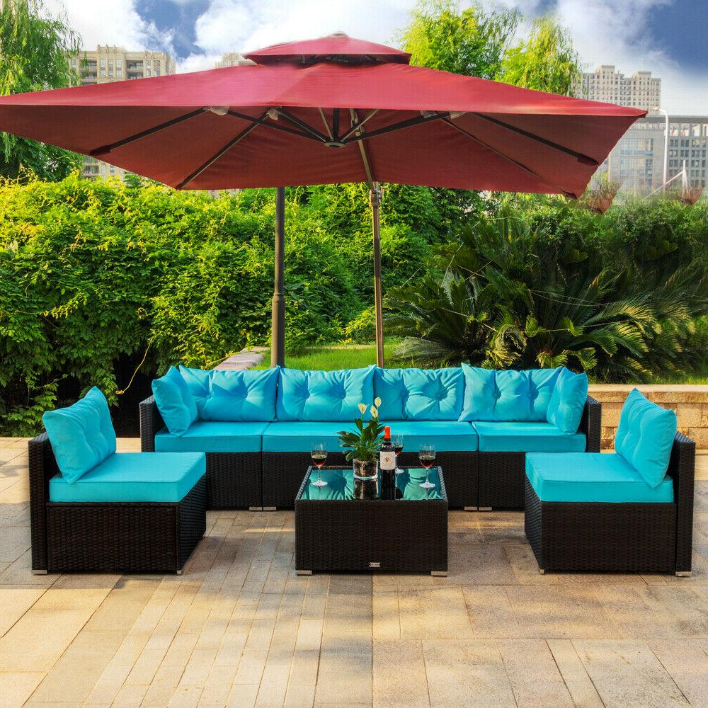 7 pc outdoor patio garden furniture sectional