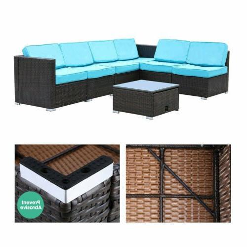 7 Furniture PE Wicker Sofa w/ Table