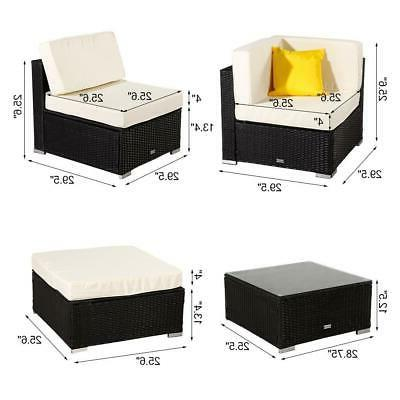 7 Pieces Wicker Sofa Couch Cushioned Furniture