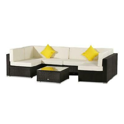 7 Pieces Sofa Couch Cushioned Furniture Patio