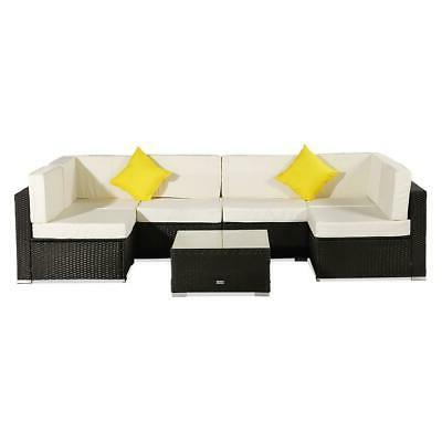 7 Rattan Wicker Sofa Set Sectional Couch Cushioned Patio