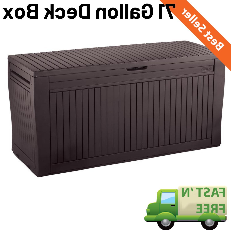 71 gallon outdoor storage bench patio box