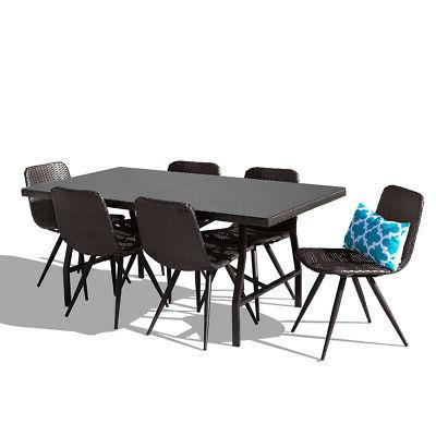 7PC Outdoor Dining Brown Furniture Deck