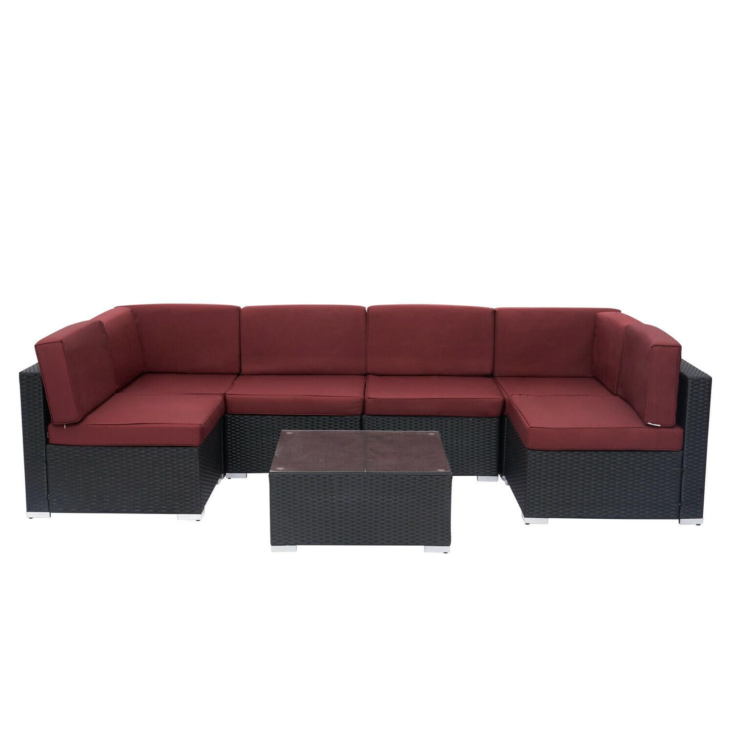 7PC Outdoor Patio Sofa PE Wicker Cushioned Sectional