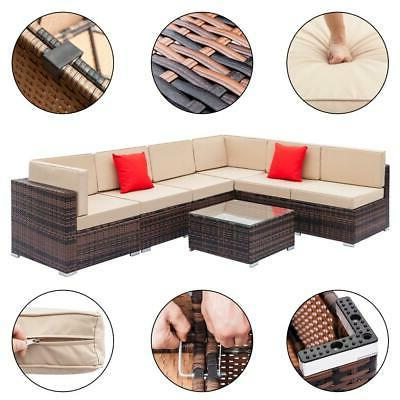 7PCS Couch Wicker Rattan /w Sofa Sectional Set SHIP
