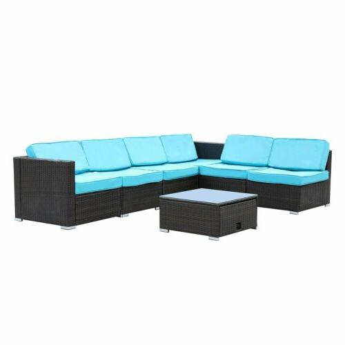 7 Pieces Sectional Furniture Set Wicker Sofa Table Blue