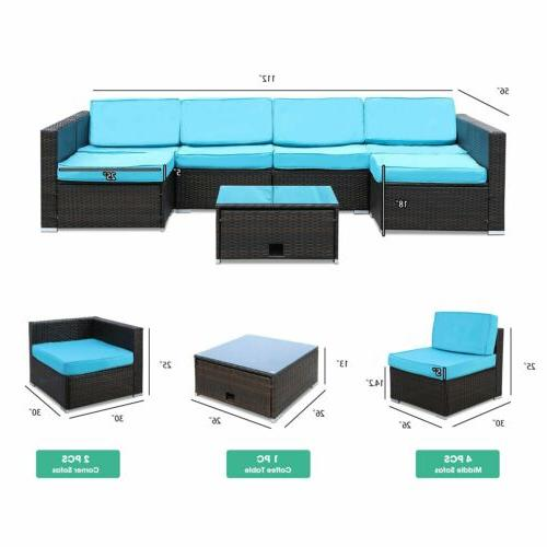 7 Pieces Furniture Set Wicker Glass Table Blue