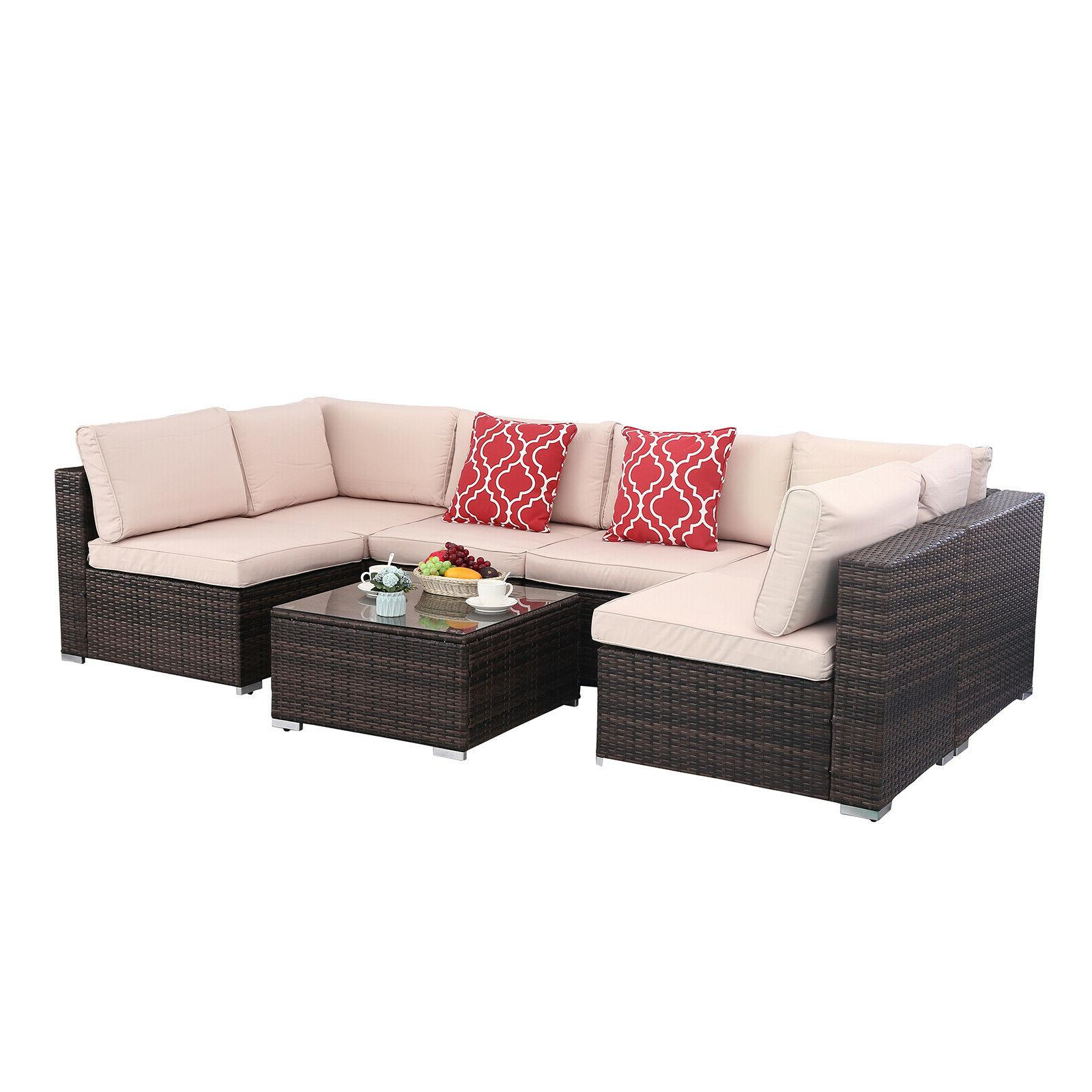 7pcs Outdoor Set Rattan Sectional Furniture Outside Couch