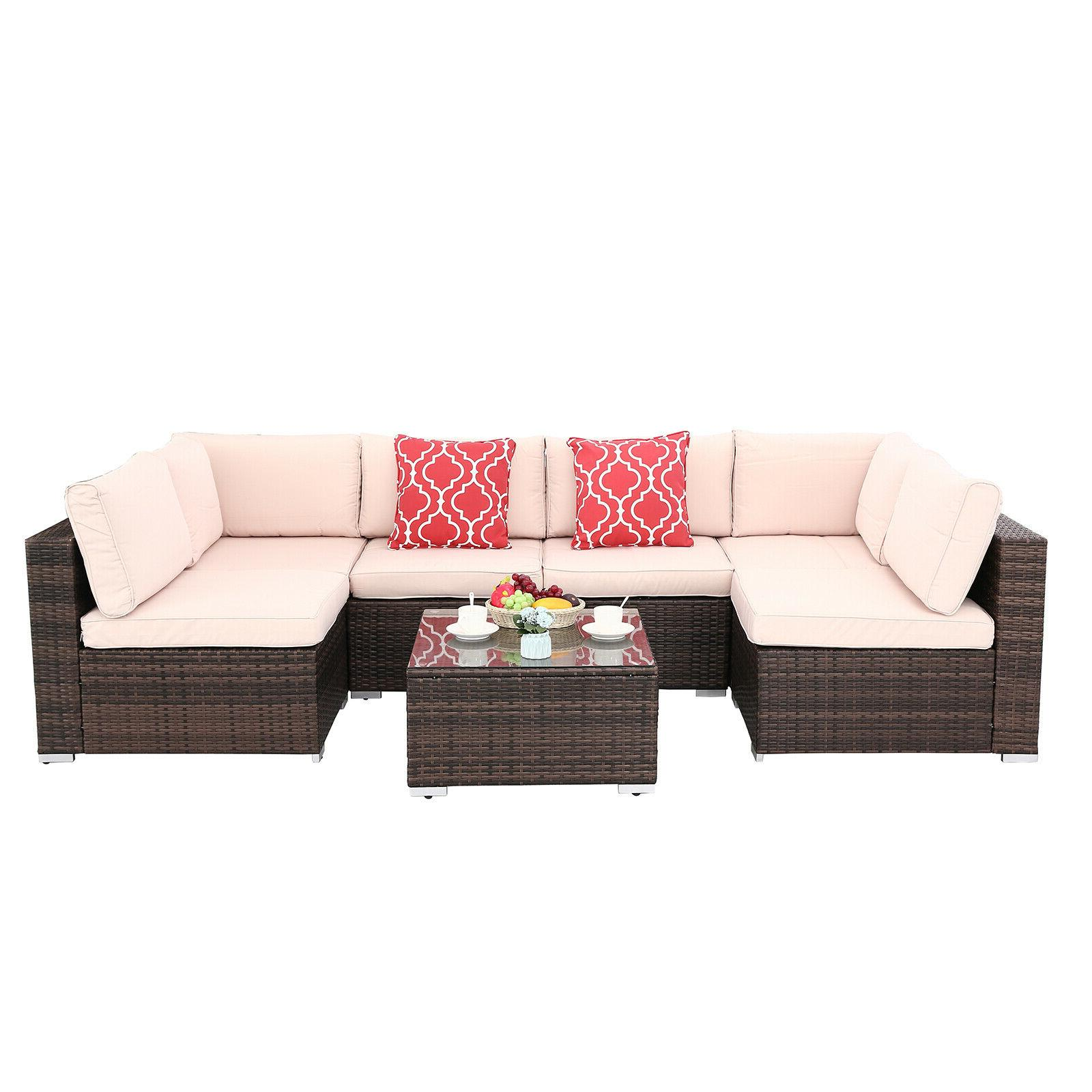 7pcs Patio Set Rattan Wicker Sectional Furniture