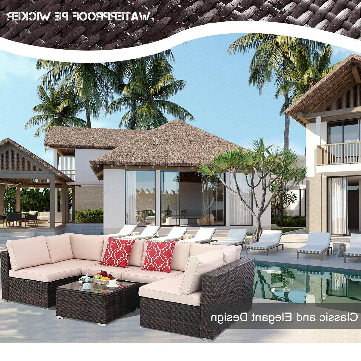 7pcs Outdoor Patio Set Sectional Outside Couch